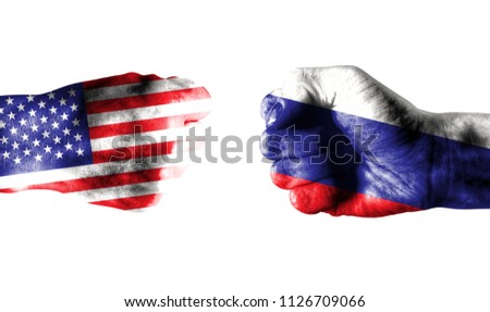 Usa Russia fist bump. Usa to meet Russia in Helsinki design. Usa meeting Russia. Two isolated hands in fist with flags painted on skin.