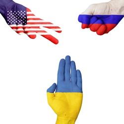 USA Russia Ukraine rock-paper-scissors