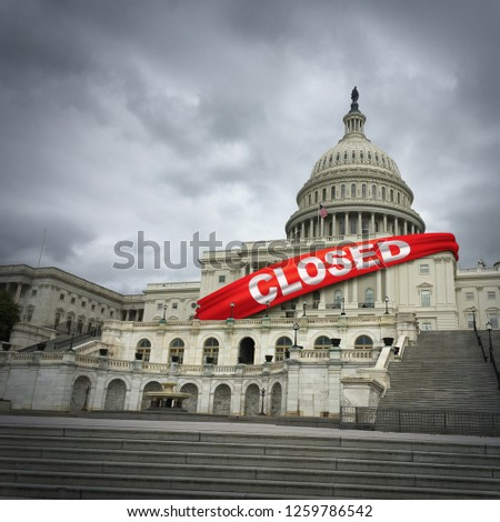USA shutdown and United States government closed and American federal shut down due to spending bill disagreement between the left and the right in a 3D illustration style.