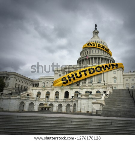 USA shutdown and United States government closed and american federal shut down due to spending bill disagreement between the left and the right with yellow hazard tape in a 3D illustration style.