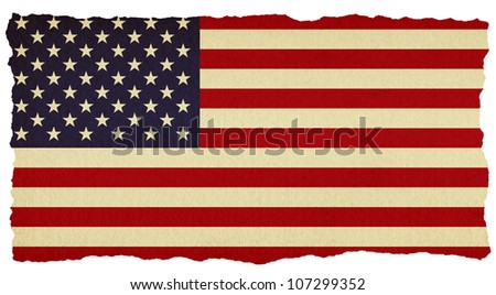 USA stars and stripes flag on old torn isolated paper.