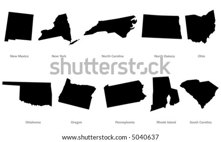 USA states contours set #4. Black, isolated against white background