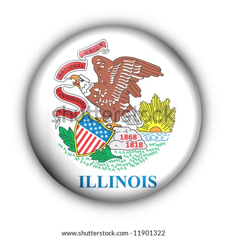 USA States Flag Button Series - Illinois (With Clipping Path)