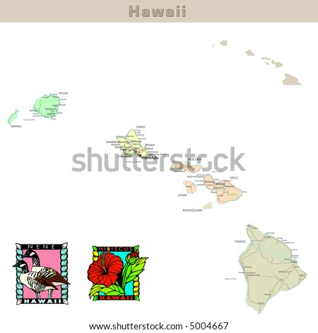 USA states series: Hawaii. Political map with counties, roads, state's contour, bird and flower