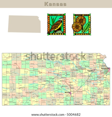 map of kansas counties. Political map with counties,