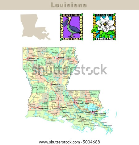 Usa States Series Louisiana Political Map With Counties