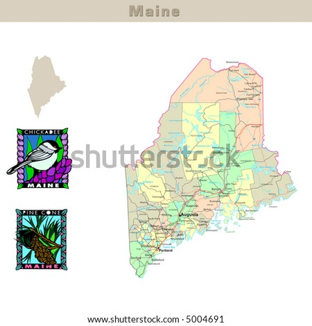 USA states series: Maine. Political map with counties, roads, state's contour, bird and flower