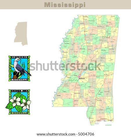 USA states series: Mississippi. Political map with counties, roads, state's contour, bird and flower