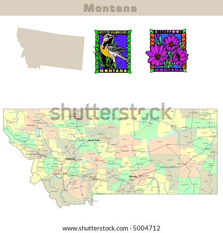 map of montana state. Political map with counties,