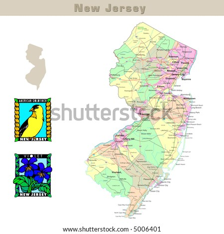 USA states series: New Jersey. Political map with counties, roads, state's contour, bird and flower