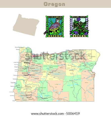 Usa States Series Oregon Political Map With Counties