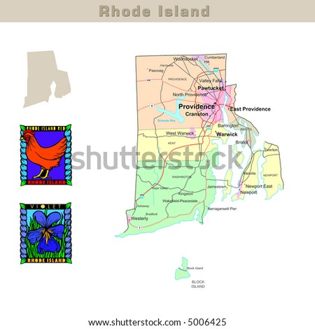 USA states series: Rhode Island. Political map with counties, roads ...