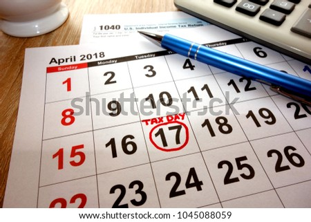 USA tax due date marked on calendar - 17 April 2018
