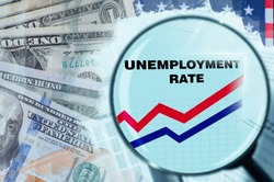 USA unemployment rate. Unemployment in America due to financial crisis. Magnifying glass over unemployment. Growth of applications for benefits. Company ruin led to layoffs. Dollars. Job loss in USA