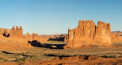 USA, Utah. Arches National Park, Three Gossips, Sheep Rock, and The Organ