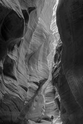 USA, Utah. Paria Canyon-Vermillion Cliffs Wilderness, hiker in a deep narrow slot of Buckskin Gulch.