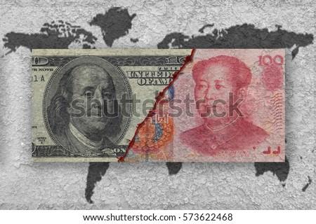 usa versus china, economic war concept