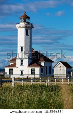 USA, Washington State, Port Townsend. Point Wilson Light Lighthouse, Fort Worden Stockfoto ©
