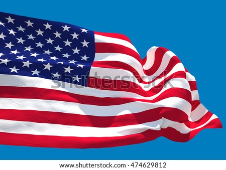 USA wave HD flag United States of America (3D render)