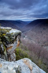 USA, West Virginia, Blackwater Falls State Park. Landscape from Lindy Point at sunset.