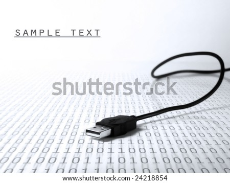USB cable connection, binary code