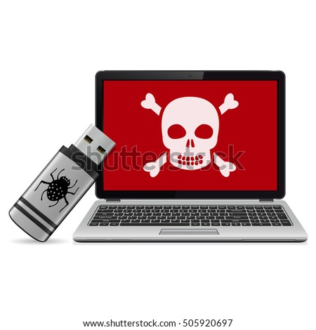 USB flash drive with computer virus and infected laptop