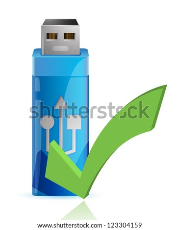 USB Flash drive with OK sign illustration design