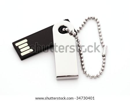 Usb flash memory, close-up, isolated on white backround