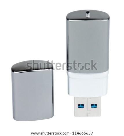 USB flash memory on white background