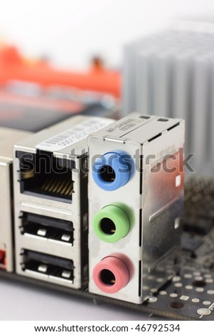 USB, LAN, Ethernet and Audio (Line-in, Line-Out, Microphone) ports on the computer mainboard