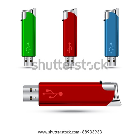 USB lighter concept.Vector version available in my gallery.