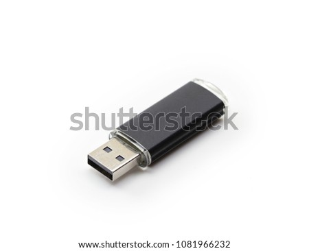 USB memory isolated on white. USB memory with black body.