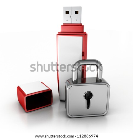 usb memory stick with locked padlock  on white background