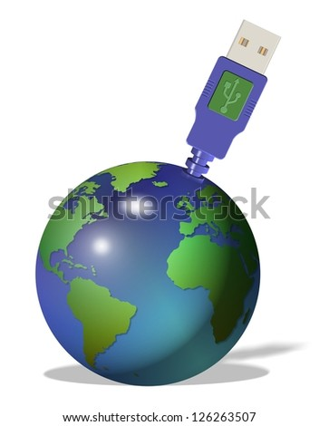 USB plug made as an extension of earth globe / Earth and USB