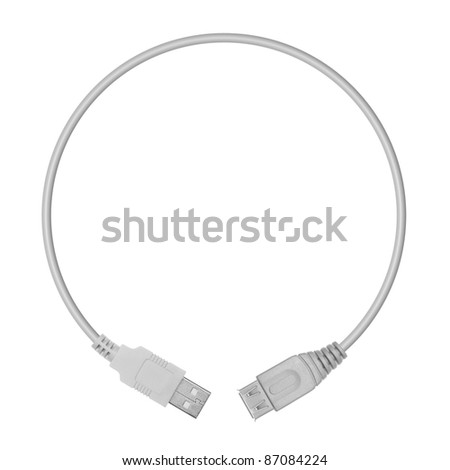 USB plugs in the form of a circle on a white background
