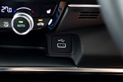USB port on the center console of a car