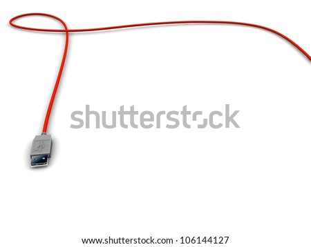 Usb red cable. 3d render