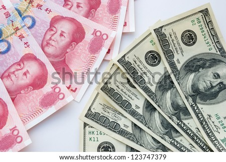 USD and RMB, financial concept