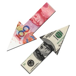 USD UP AND RMB DOWN, finacial concept