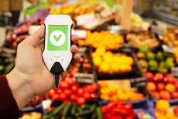 Use nitrate tester in market to buy organic vegetables and fruits. Inspection of farm products to high content of nitrates and nitrites. Safe food.