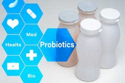 Use probiotics in medicine. In small bottles are probiotics. Production of biological probiotics. Sale of biologically active additives. Taking bio supplements promote health. Living microorganisms.