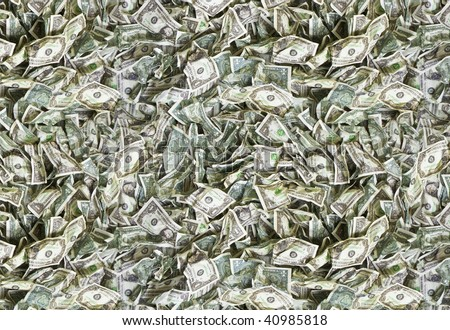 Used and broken one dollar bills texture - offset