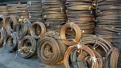 used and rusty Steel Wire Rope recycle material for industrial background.