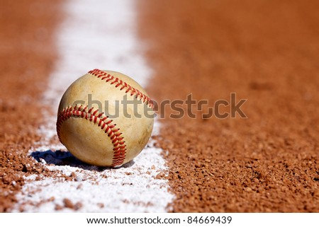 Used Baseball on the  Chalk Line with room for copy