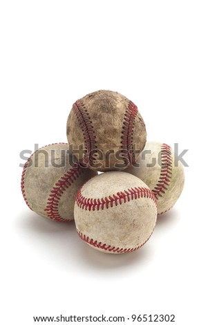 Used baseballs, isolated on white