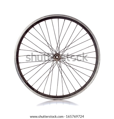 Used bicycle wheel with no tire on white background #165769724
