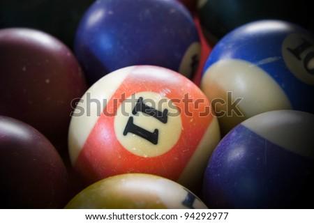 Used billiard balls on a billiard table