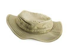 Used brown fishing hat isolated on white background