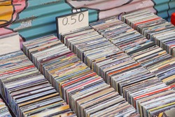 Used CDs for sale at flea market