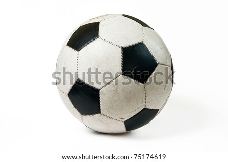 Used classic soccer ball isolated on white background with shadow. Stockfoto ©